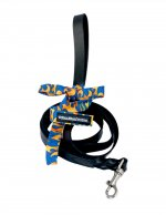 LEATHER LEASH YELLOW BLUE FLAMES