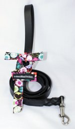 LEATHER LEASH WITH HEARTS AND FLOWERS