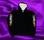 HOODIE WITH ROSE AND SKULLS