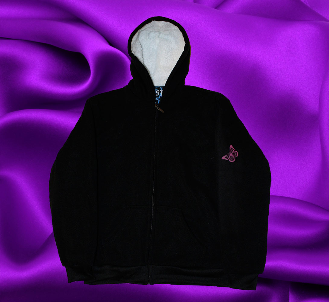 HOODIE WITH BUTTERFLY FRONT - Click Image to Close