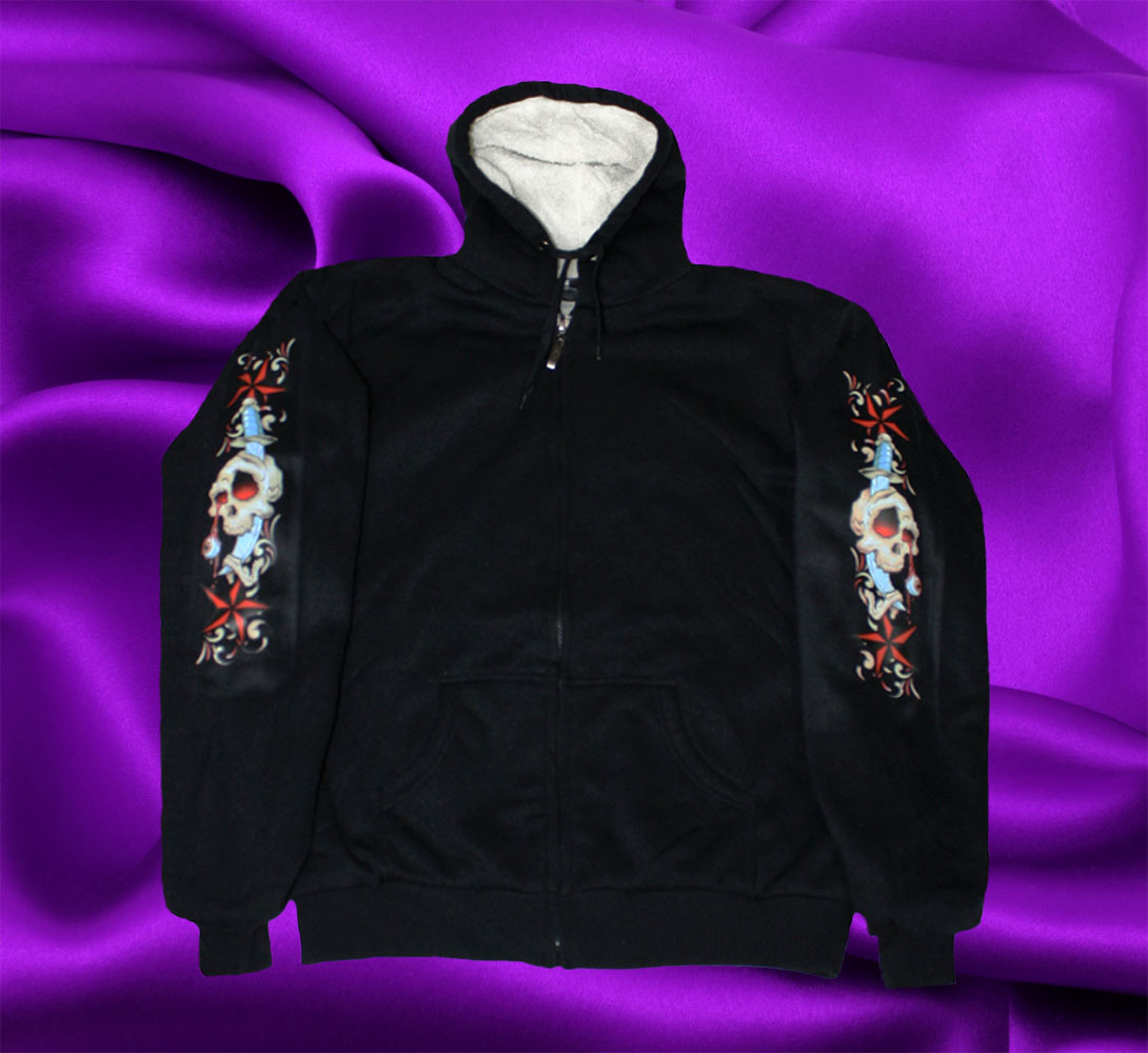 HOODIE WITH SWORD AND SKULLS - Click Image to Close