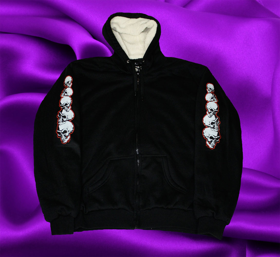 HOODIE WITH WHITE SKULLS - Click Image to Close