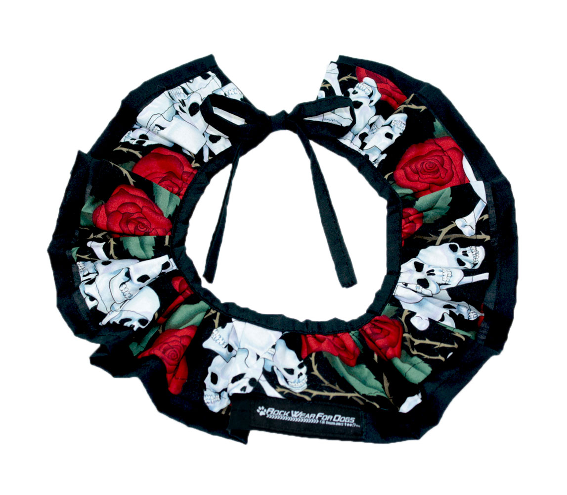 SKULL AND ROSES CLOWN COLLAR - Click Image to Close